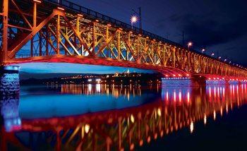 City Skyline Bridge Reflection Night Fototapeta