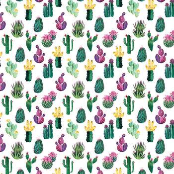 Colorful painterly cacti Fototapeta