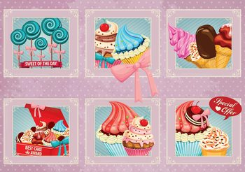 Cupcakes Pink Retro Fototapeta