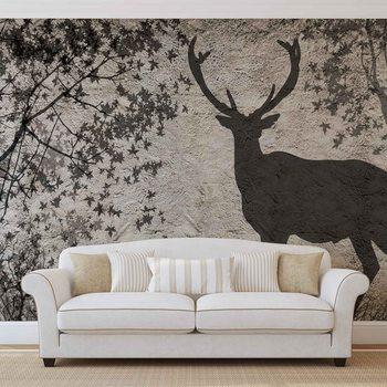 Deer Tree Leaves Wall Fototapeta