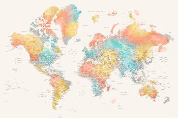 Detailed colorful watercolor world map, Fifi Fototapeta