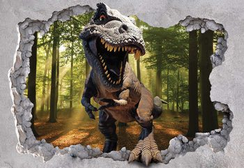 Dinosaur 3D Jumping Out Of Hole In Wall Fototapeta