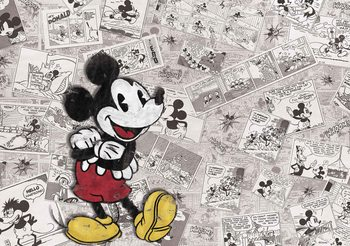 Disney Mickey Mouse Newsprint Vintage Fototapeta