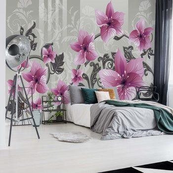 Floral Pattern With Swirls Fototapeta
