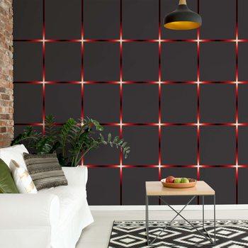 Modern Square Design Red Lights Fototapeta