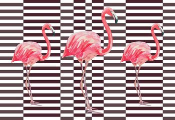 Modern Tropical Flamingos Fototapeta
