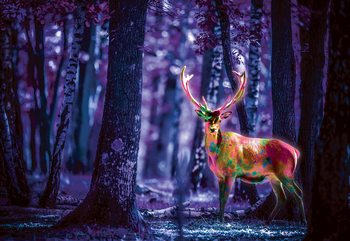 Mystical Stag In Forest At Night Fototapeta