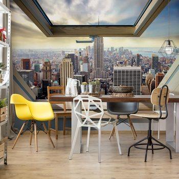 New York City Skyline 3D Skylight Window View Fototapeta