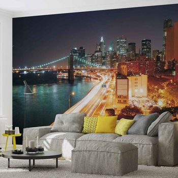 New York City Skyline Night Fototapeta