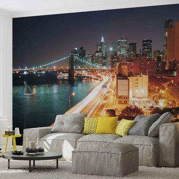 New York City Skyline Night Fototapeta
