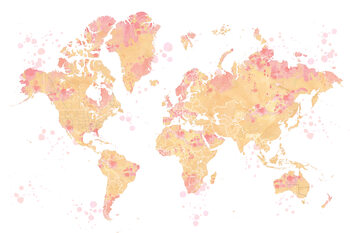 Ochre and pink watercolor world map, Amanda Fototapeta
