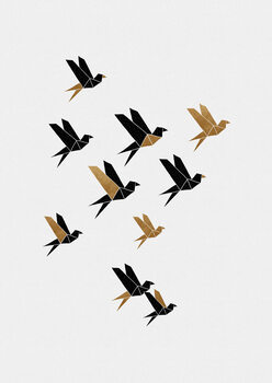 Origami Birds Collage II Fototapeta