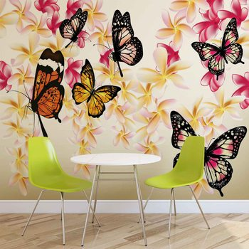 Papillons Fleurs Fototapeta