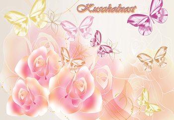 Roses Butterflies Fototapeta