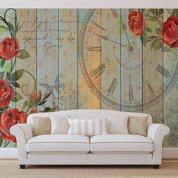Roses Clock Wood Planks Vintage Fototapeta
