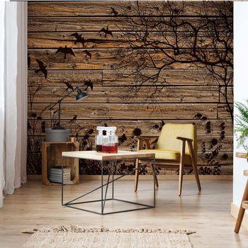 Rustic Birds And Tree Silhouette Wood Plank Texture Fototapeta