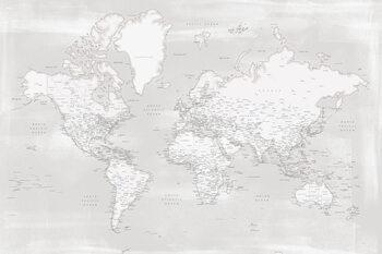 Rustic distressed detailed world map in neutrals Fototapeta