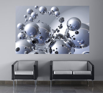 TREVOR SCOBIE - silver orbs Fototapeta