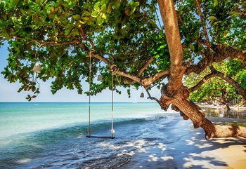Tropical Island Beach Swing Fototapeta