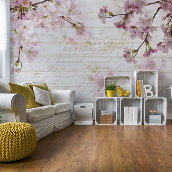 Vintage Chic Cherry Blossom Wood Planks Fototapeta