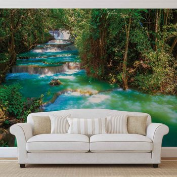 Waterfalls Trees Forest Nature Fototapeta