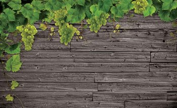 Wooden Wall Grapes Fototapeta