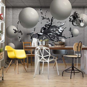 3D Abstract Design Molten Metal Balls Fototapete