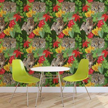 Abstrakt Muster Blumen Gepard Fototapete