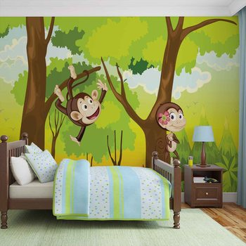 Affen Dschungel Kinderzimmer Fototapete