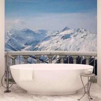 Ausblick Landschaft Berge Schnee Fototapete