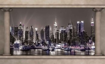 Ausblick Spalten New York City Skyline Fototapete