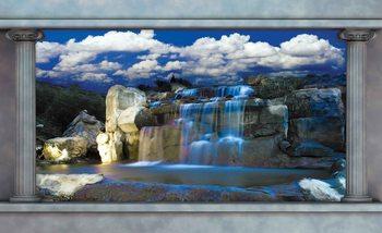 Ausblick Spalten Wasserfall Fototapete