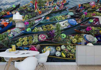 Banjarmasin Floating Market Fototapete