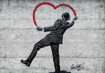 Banksy Graffiti Betonwand Mann Herz Fototapete