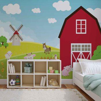 Bauernhof Cartoon Kinder Schlafzimmer Fototapete