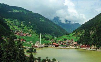 Berglandschaft Dorf Fototapete