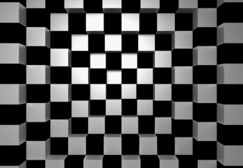 Black + White Squares Tapete