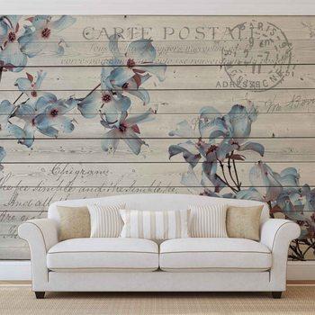 Blumen Holz Muster Vintage Fototapete