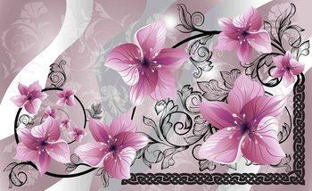 Blumen Muster Abstrakt Strudel Fototapete