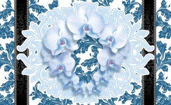Blumen Orchideen Muster Fototapete