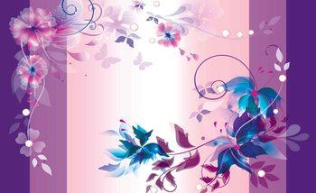 Blumen Schmetterlinge Muster Abstrakt Fototapete