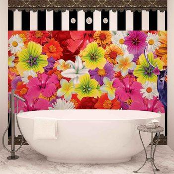Blumen Streifen Reh Muster Fototapete