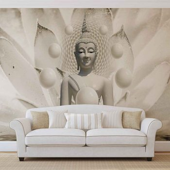 Buddha Zen Kugeln Blume 3D Fototapete