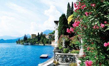 Comer See Italien Blumen Fototapete
