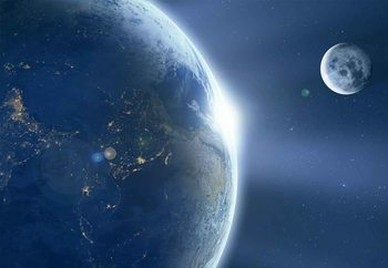 Earth And Moon Fototapete