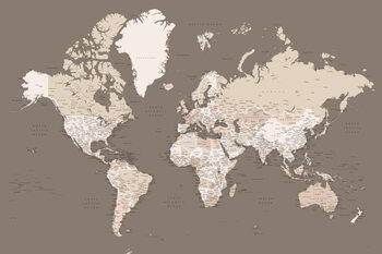 Earth tones detailed world map with cities Fototapete