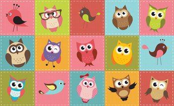Eulen Vögel Kinder Fototapete