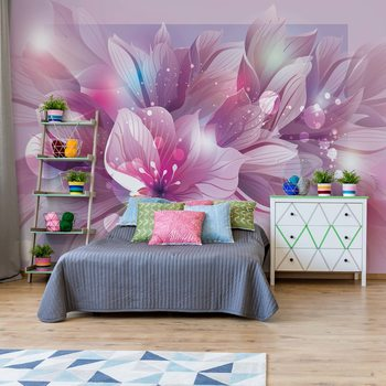 Flowers Modern Pink And Purple Fototapete