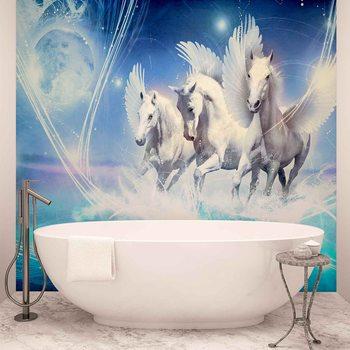 Geflügelte Pferde Pegasus Blau Fototapete