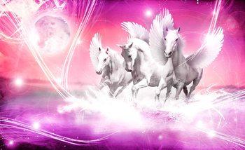 Geflügelte Pferde Pegasus Rosa Fototapete